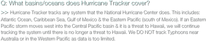 Q: What basins/oceans does Hurricane Tracker cover?